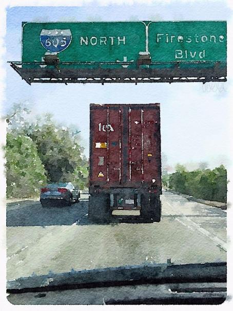 waterlogue of a truck butt